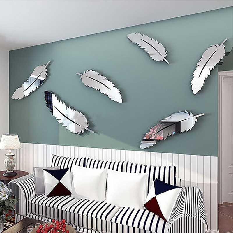 Nuevo 3D espejos de plumas pegatinas de pared papel pintado DIY Home Decal mural de decoración para habitación jul5