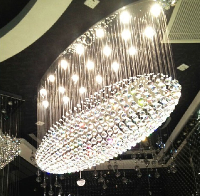 Oval chandelier luxury villa hotel engineering lamp crystal lamp restaurant lamp large living room modern hall long chandelier roomble потолочный светильник evron oval metal frame chandelier