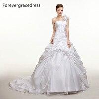 Forevergracedress Modest Long Wedding Dress Taffeta One Shoulder Handmade Flower Long Backless Bridal Gown Plus Size