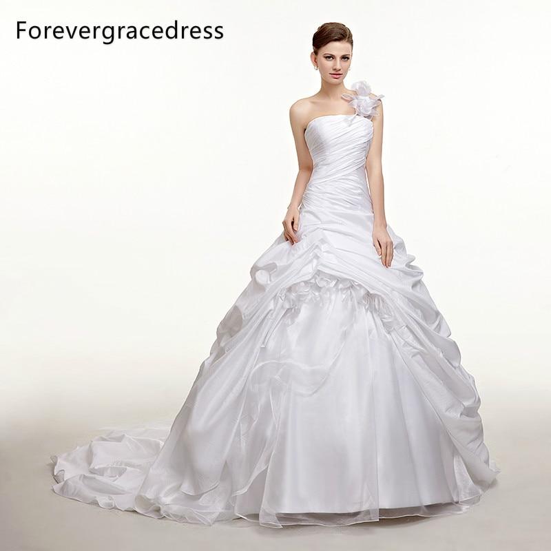 Forevergracedress Modest Long font b Wedding b font Dress Taffeta One Shoulder Handmade Flower Long Backless