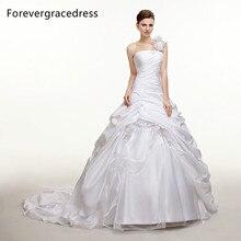 Forevergracedress Modest Long Wedding Dress Taffeta One Shoulder Handmade Flower Long Backless Bridal Gown Plus Size Custom Made