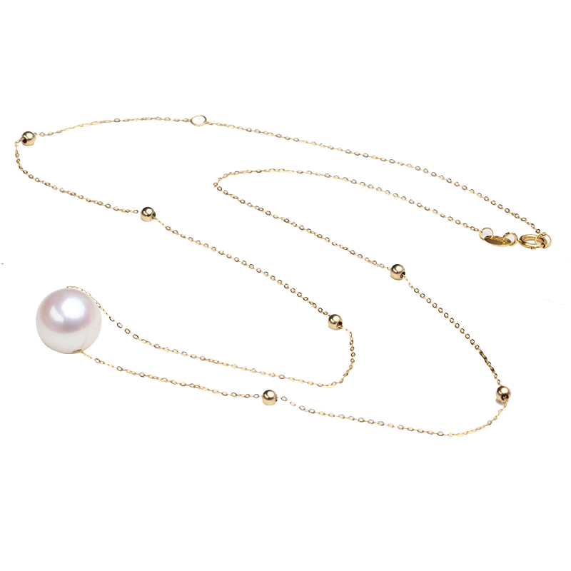 Sinya 18k gold choker necklace with 7.5-10mm natural Round pearls and 3mm gold beads Au750 gold chain length 45cm for women yoursfs heart necklace for mother s day with round austria crystal gift 18k white gold plated