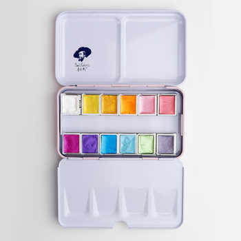 Rubens 12/24 Glitter Watercolor Paint Solid Colors Artist Watercolor Paints Pink Portable Metal Case with Palette