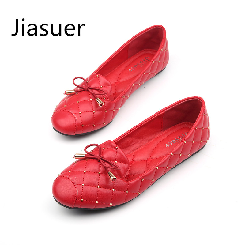 Jiasuer Female Round Head Flat Shoes Fashion Bow Ballet Flats Patent Leather Flat Heel Shoes Shallow Mouth Soft Casual Shoes odetina fashion ladies summer shoes ballet flats women flat slip on ballerinas patent leather shallow mouth shoes big size 32 52