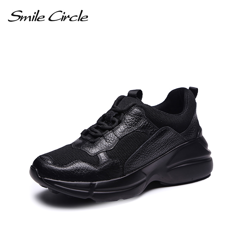 Smile Circle Genuine Leather Sneakers Women Breathable mesh Fashion Flat Platform Shoes Women Lace-up casual shoes Black Sneaker smile circle genuine leather sneakers women lace up flat shoes women comfortable air cushion sneakers 2018 casual shoes