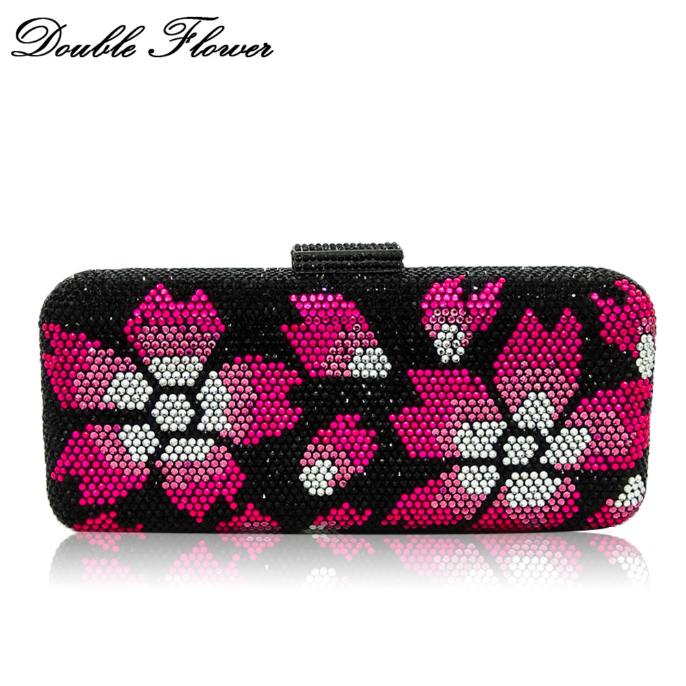 Double Flower Black Crystal Fuchsia Floral Women Evening Clutch Bag Hard Case Wedding Party Handbag Bridal