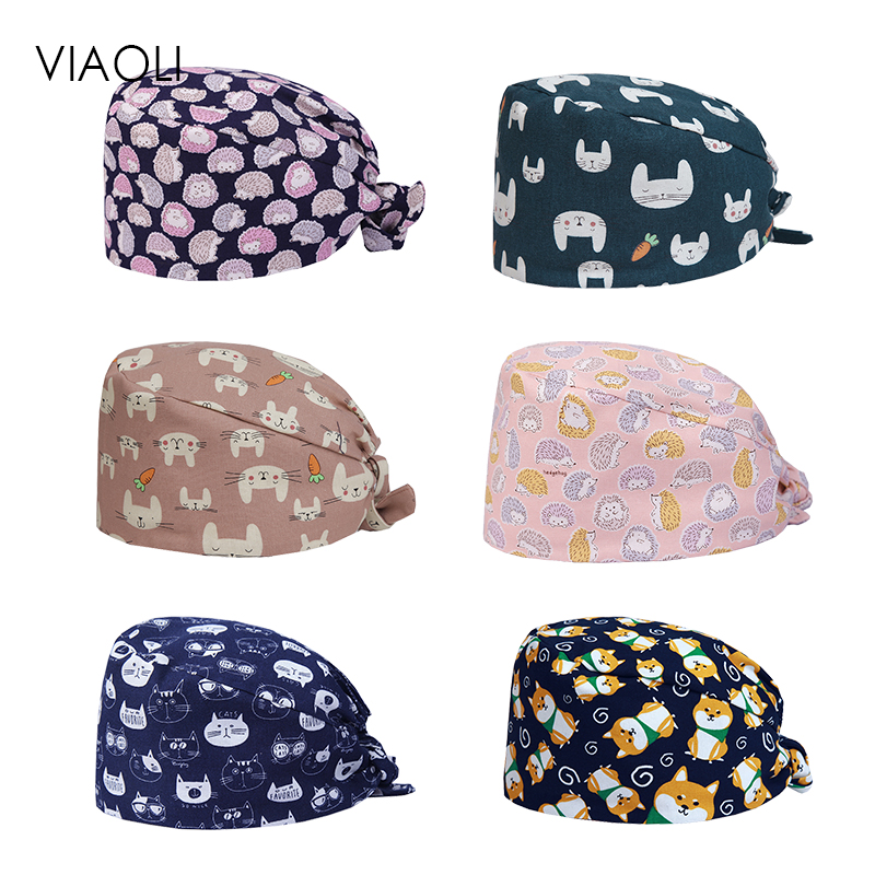 New Hospital Dental Clinic Pediatrician Cute Cotton Medical Cap Surgical Cap Feather Pattern Medical Accessories Unisex Durags