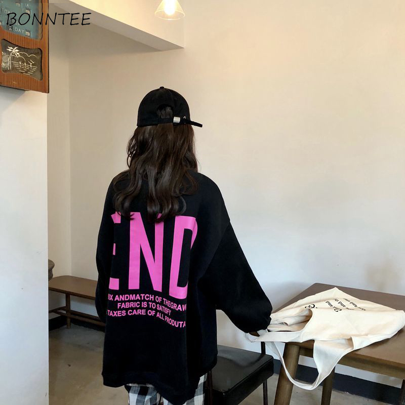 Qualified Hoodies Women Korean Style Ulzzang Harajuku Autumn Long Sweatshirts Womens Bf Loose Leisure Elegant Female Letter Printed Simple Pretty And Colorful Women's Clothing