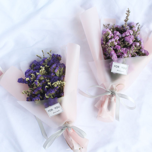 Us 3 1 Creative Gift Ins Photo Props Transparent Matte Paper Forget Me Dry Flowers Small Bouquet Gift Box Ba In Artificial Dried Flowers From Home