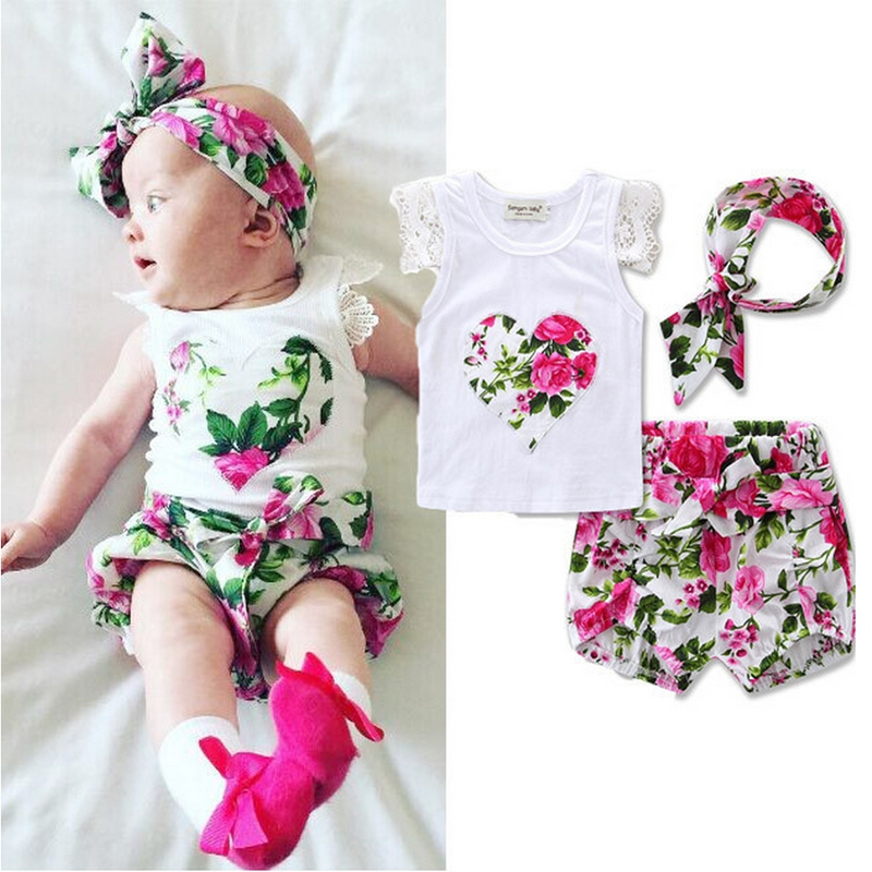 Summer Baby Clothing Sets Newborn Infant Baby Girls Set Toddler kids Outfits Cotton Shirt Tops Flower Shorts Pants Headband 3pcs princess toddler kids baby girl clothes sets sequins tops vest tutu skirts cute ball headband 3pcs outfits set girls clothing