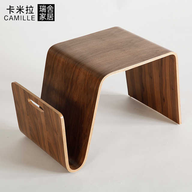 Swiss House Home Modern Minimalist Smart About Coffee Small Wooden Coffee  Table Curved Stick Leather Production