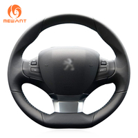 MEWANT Black Artificial Leather Car Steering Wheel Cover for Peugeot 308 2016 2017
