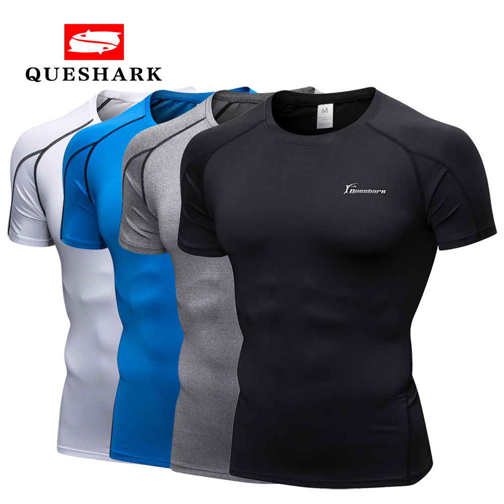 Queshark Men's Pro Compression Jogging Sports Wear Short T Shirt Gym Fitness Workout Tights Shirt Quick Dry