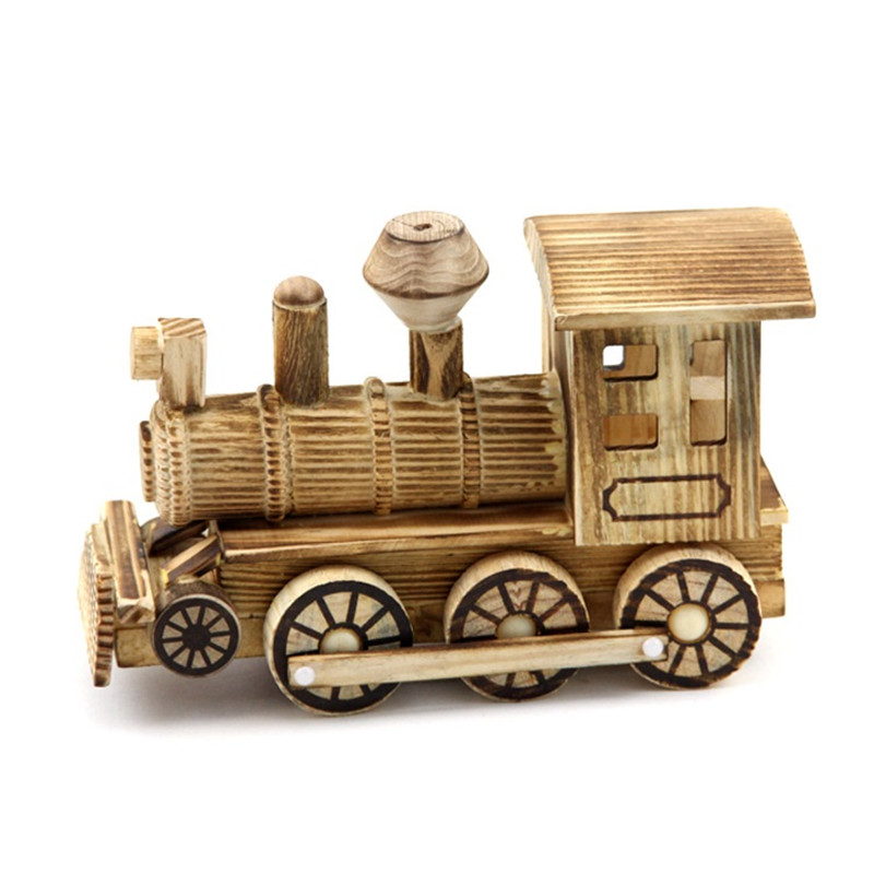 High Quality Wooden oys Train Engraving Process Locomotive Diecasts Toy Vehicles Train Model Toys for Children