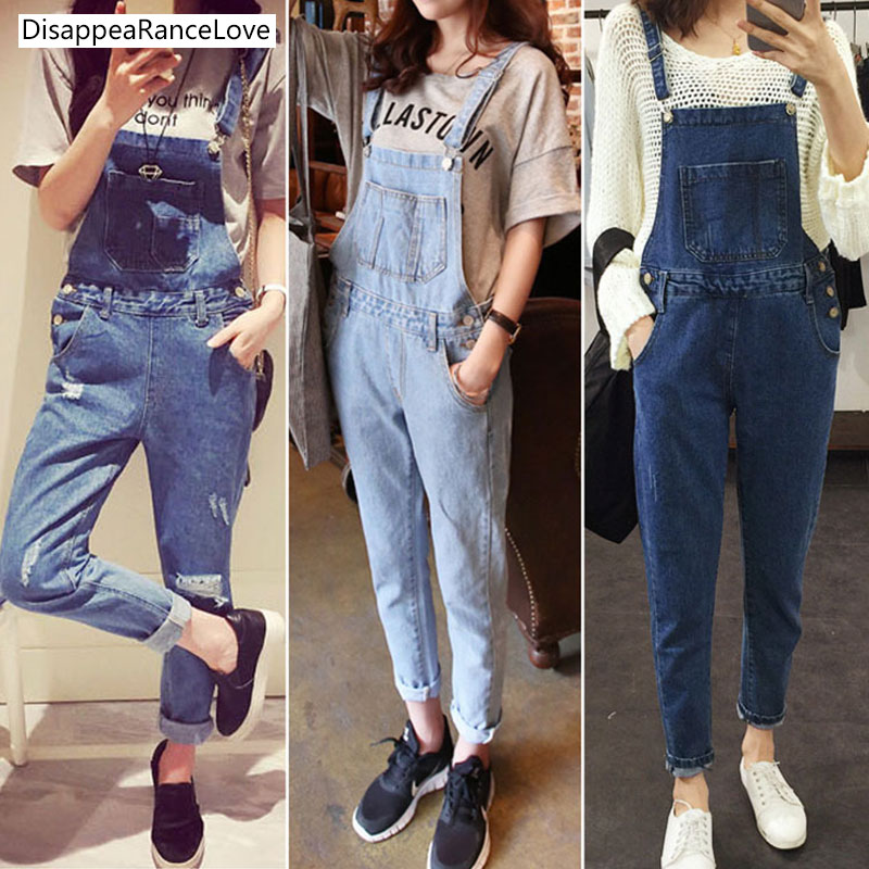 2017 autumn and winter denim bib high pants trousers loose casual spaghetti strap ankle length overalls preppy style female цены онлайн