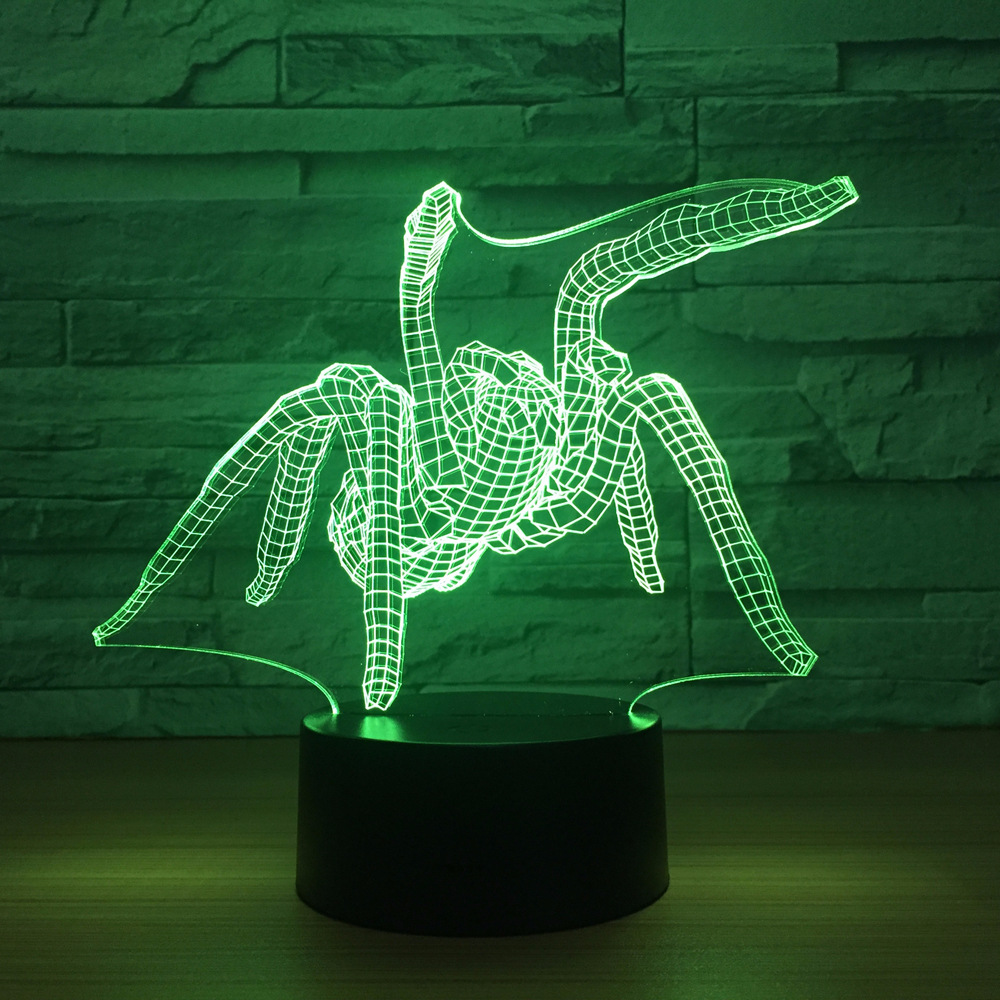 Spider Acrylic Creative USB Bedside Lamp 3D Night light Touch Control Night light luminaria luminaria de mesa Drop ShippingSpider Acrylic Creative USB Bedside Lamp 3D Night light Touch Control Night light luminaria luminaria de mesa Drop Shipping