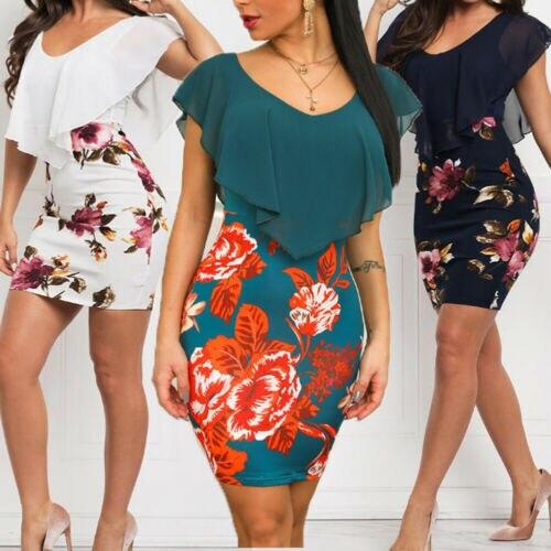2019 Fashion Women s Blue Floral Sexy Skinny Ruffles Formal Bodycon Slim Business Party Evening Club Innrech Market.com
