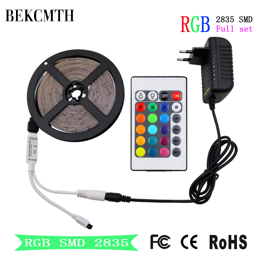 BEKCMTH RGB LED Strip Light SMD 2835 5M 10M Waterproof RGB Tape DC12V Ribbon Diode Led Strips Lamp With IR Remote Controller(China)