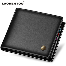 Laorentou 100% Genuine Leather Wallet Men Short Wallet Vintage Cow Leather Casual Men Wallet Purse Standard Holders Wallets N52