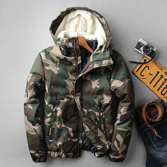 2016 Мода камуфляж парки мужчины duck пуховик военная средней длины зимнее пальто мужчины толстый зимний куртка мужчины с меховой капюшон