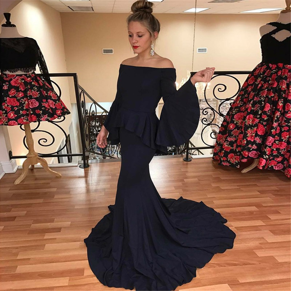 Wonderful Navy Blue Long Sleeve   Bridesmaid     Dresses   Boat Neck Off The Shoulder Mermaid Wedding Guest   Dress   2019 Arabic Women Gown