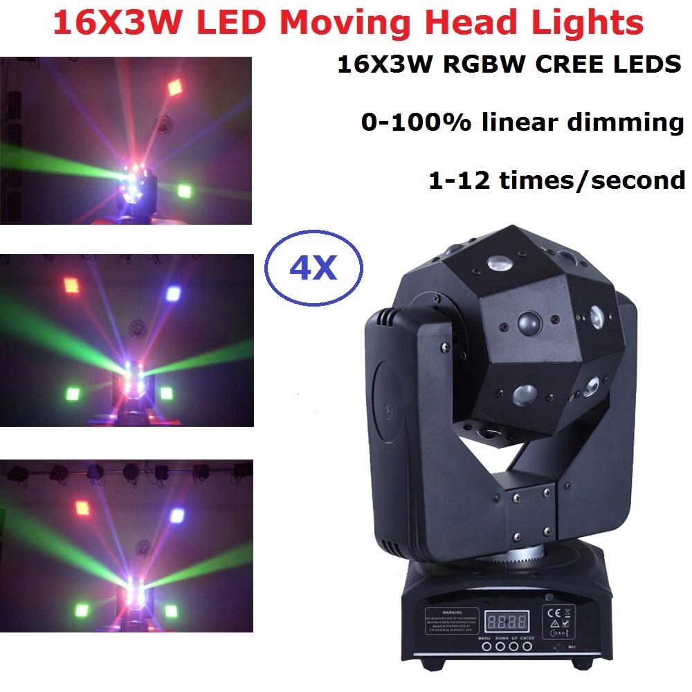 4 Unit 16X3W RGBW 4IN1 LED Wash Moving Head Light LED Stage DJ Beam Lights Super Bright Cubix Moving Head Lights DHL Shipping|Stage Lighting Effect| |  - title=