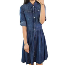 2016 Denim Dress Plus Size Casual Summer Dresses 4XL Jeans Women Vintage ZMF7489562