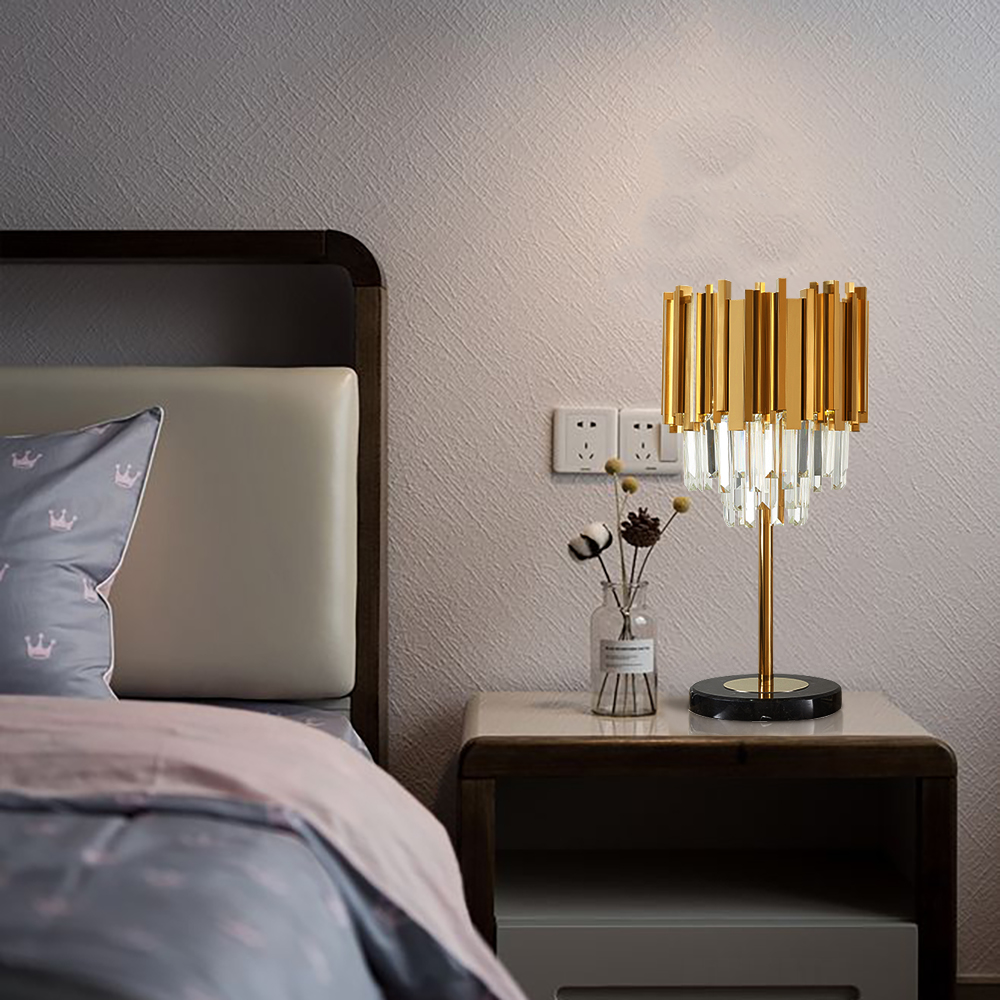 Modern Bedroom Table Lamp Gold Polished Steel Crystal Desk Decor Light fixtures 3