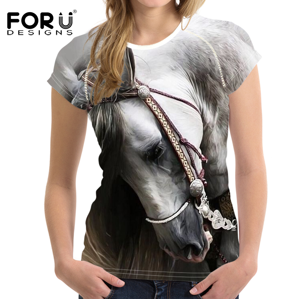 FORUDESIGNS 3D Animale Crazy Horse Stampa Donne T Camicette Novità Manica Corta Top Tee Vestiti per le Ragazze Adolescenti Fit O neck T-Camicette