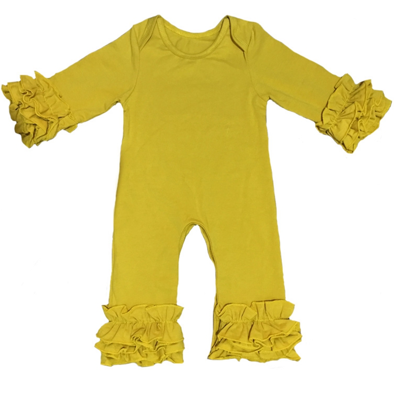 Fall winter Wholesale Baby Icing Ruffle leg   Romper   mustard plum olive peacock Boutique Newborn plain Color pajama gowns Jumpsuit
