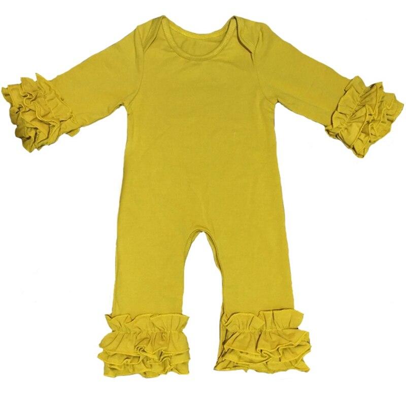Otoño Invierno al por mayor bebé glaseado volante pierna mameluco mostaza ciruela Oliva Pavo Real Boutique recién nacido Color liso pijama vestidos mono