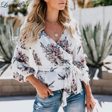 lionstill 2018 Autumn New Women print Blouses female lantern Sleeve fashion frenum chiffon shirts ladies casual all-match tops