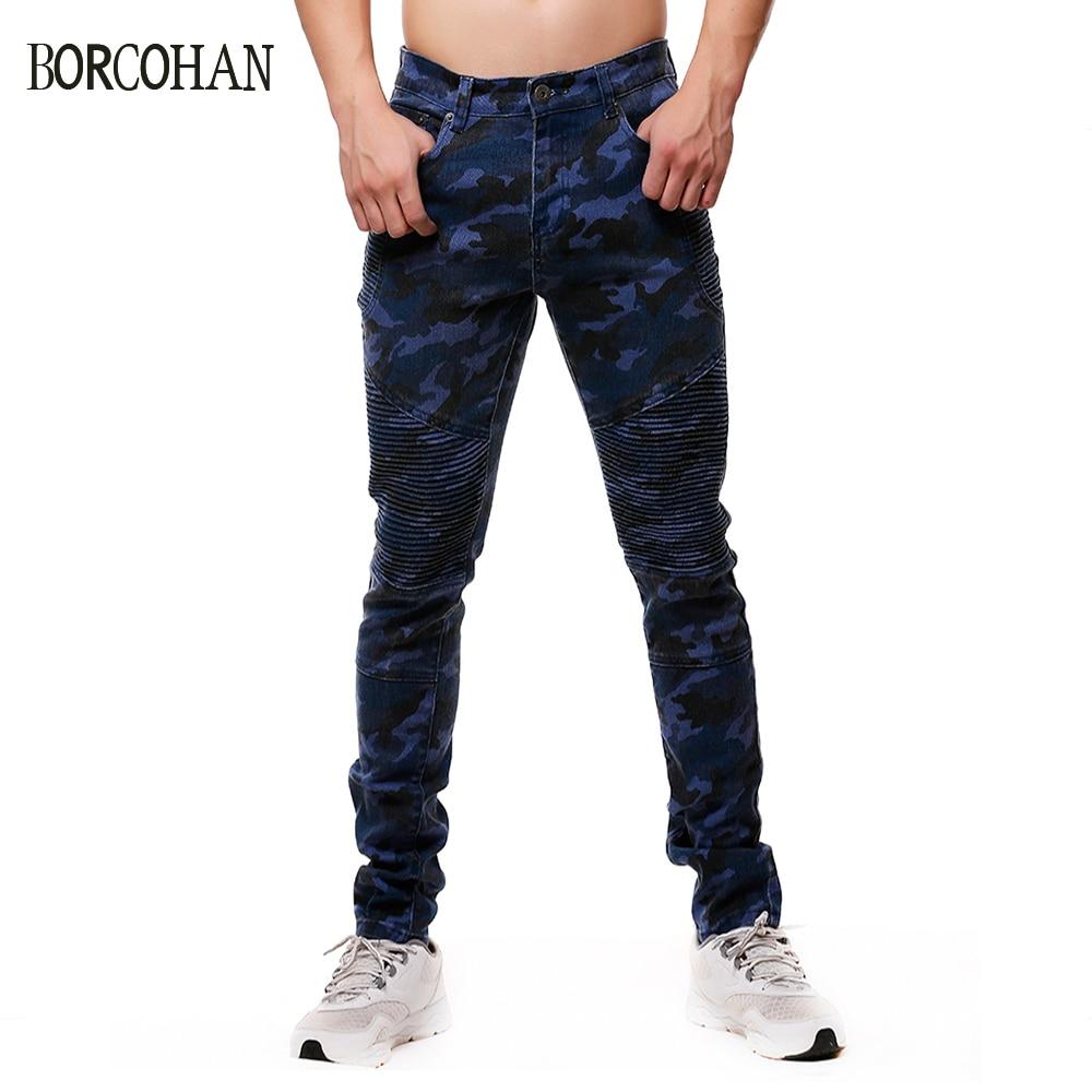 New Men's Camouflage Biker Skinny   Jeans   Men Camo Pencil Pants Taper Fit Army Trousers Men's Casual Slim Pleated   Jeans   YK00073
