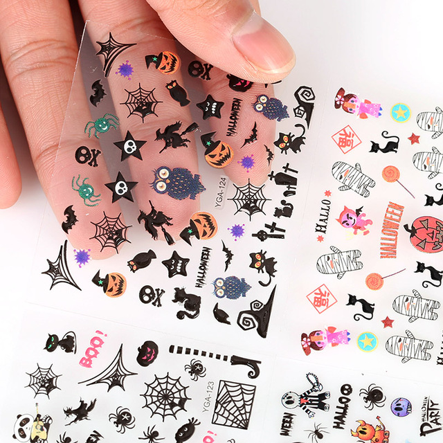 Halloween 3D Colorful Skull Pumpkin Nail Stickers