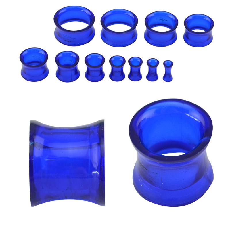 Hot sell simple design blue double flare roung tunnel plug unisex personal adornment