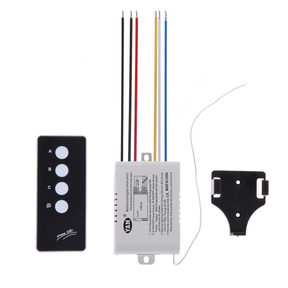 3 Way Porto ON/OFF 220 V Lâmpada Luz Parede Digital Sem Fio Interruptor de Controle Remoto Receptor Transmissor # LO