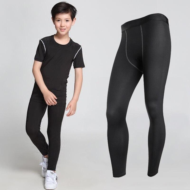 Черные компрессионные штаны для детей, тренажерный зал, фитнес, спортивные Леггинсы для бега, длинные Baselayer, спортивные брюки, черные штаны д...