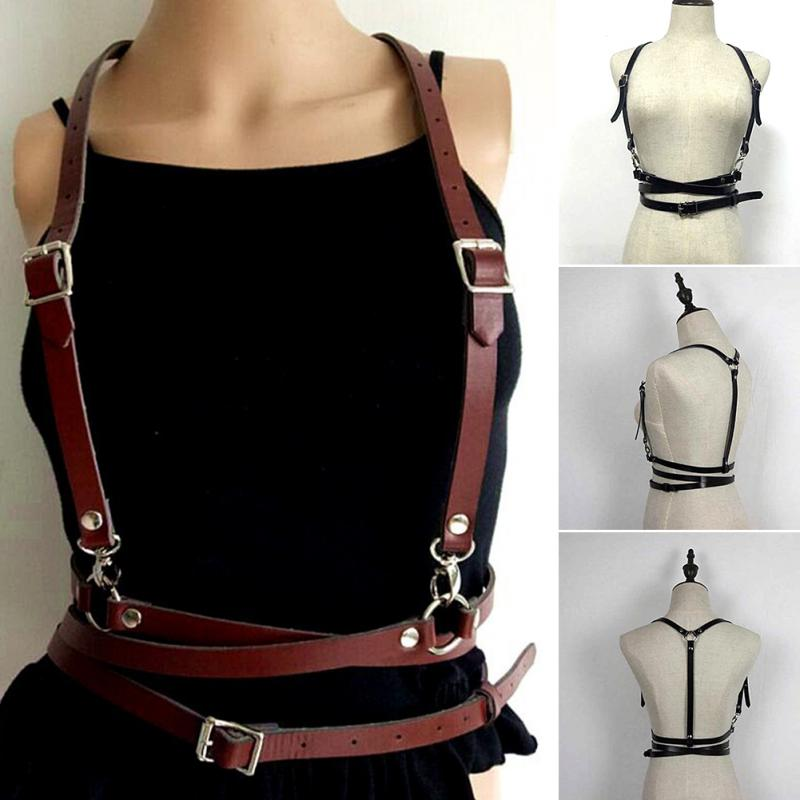 Pop Fashion Punk Harajuku O-Ring Garters Faux Leather Body Bondage Cage Sculpting Harness Waist   Belt   Straps Suspenders   Belt   #20