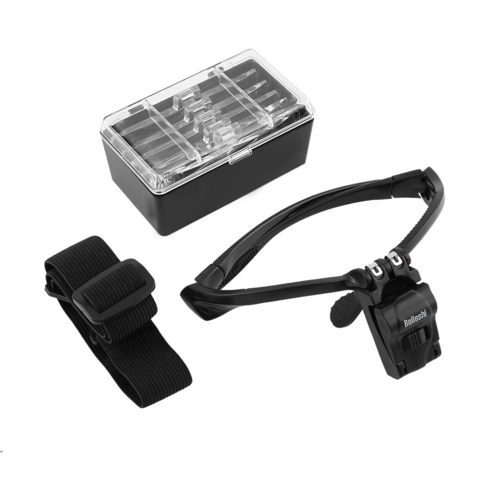 Diadema ajustable lupa ojo lupa de reparación 2 LED 1,0/1,5/2,0/2,5/3,5X5 Unid gafas lupa lente óptica