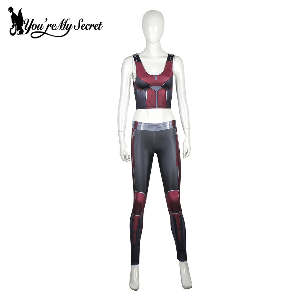 [You're My Secret] Fashion Red Armor Comic Cosplay Slim Leggings - Women's Clothing - Photo 3