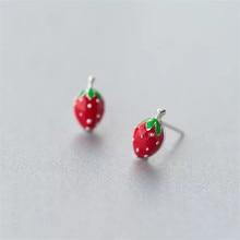 925 sterling silver earrings Sweet strawberry fruit Womens fashion jewelry Allergy free wholesale