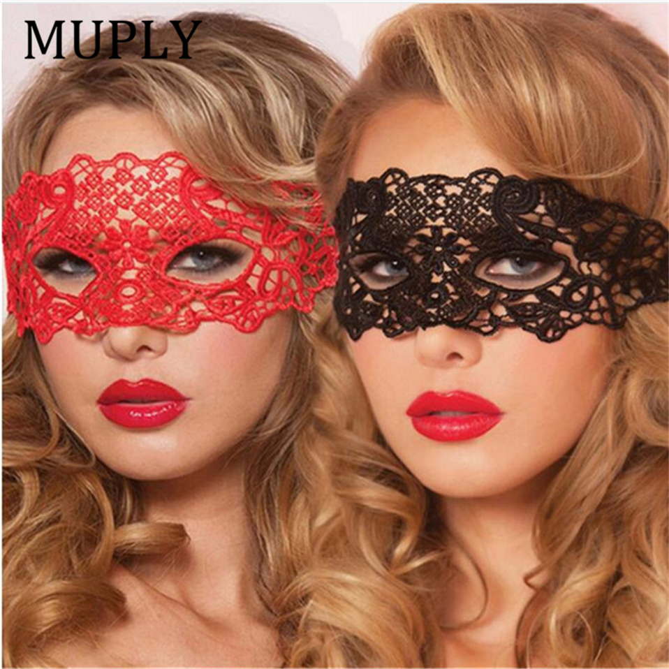 Sexy Babydoll Porn Lingerie Sexy Black/White/Red Hollow Lace Mask Erotic Costumes Women Sexy Lingerie Hot Cosplay Party Masks 1pcs party masks female fancy dress masque eye mask women sexy lace venetian mask for adult games