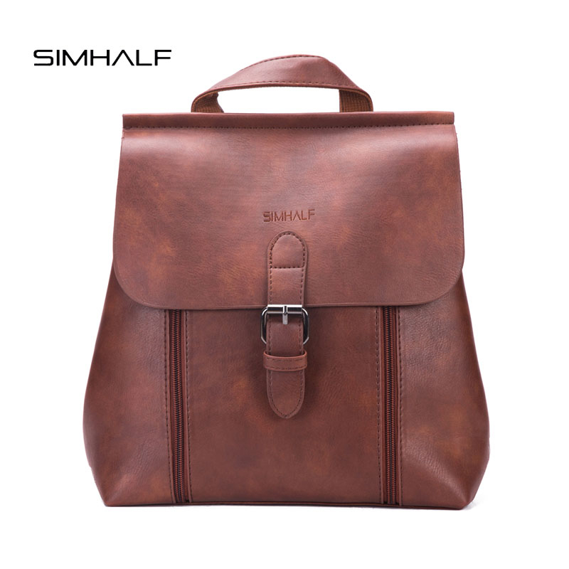SIMHALF Fashion PU Leather Women Backpack Cover Simple School Bag Fashion High Quality Women Backpacks Girl