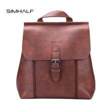 Simhalf модная женская обувь из искусственной кожи рюкзак Крышка простая школьная сумка Мода Высокое качество женские рюкзаки девушка сумка Mochila