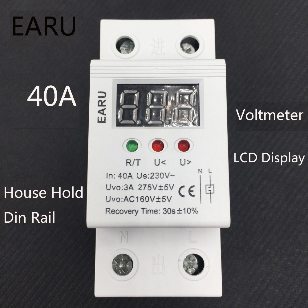 40A 220V automatic reconnect over voltage and under voltage protection protective device relay with Voltmeter voltage monitor