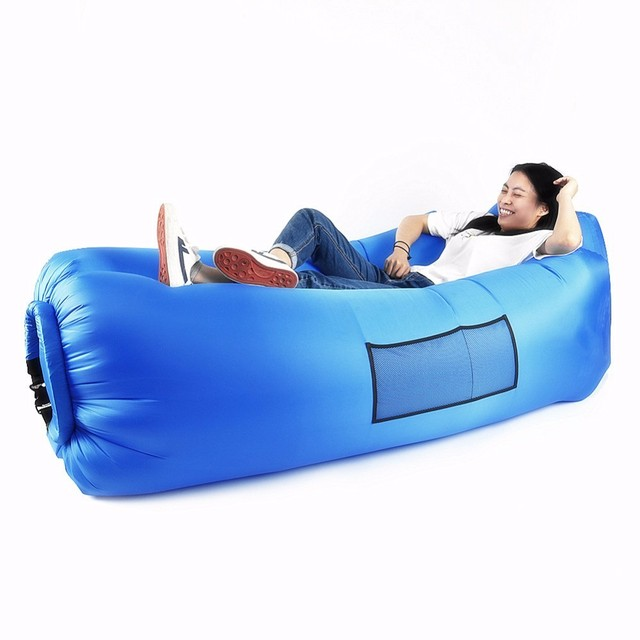 Outdoor Beach Inflatable Lounger Air Sofa Bed Portable Sleeping Bag Couch For Backyard Lakeside Traveling