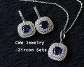 Creado Zafiro 1.25ct Royal Blue CZ Diamante Simulado Pendientes y Colgante Neckalce Sistemas de La Joyería Para Las Mujeres T024