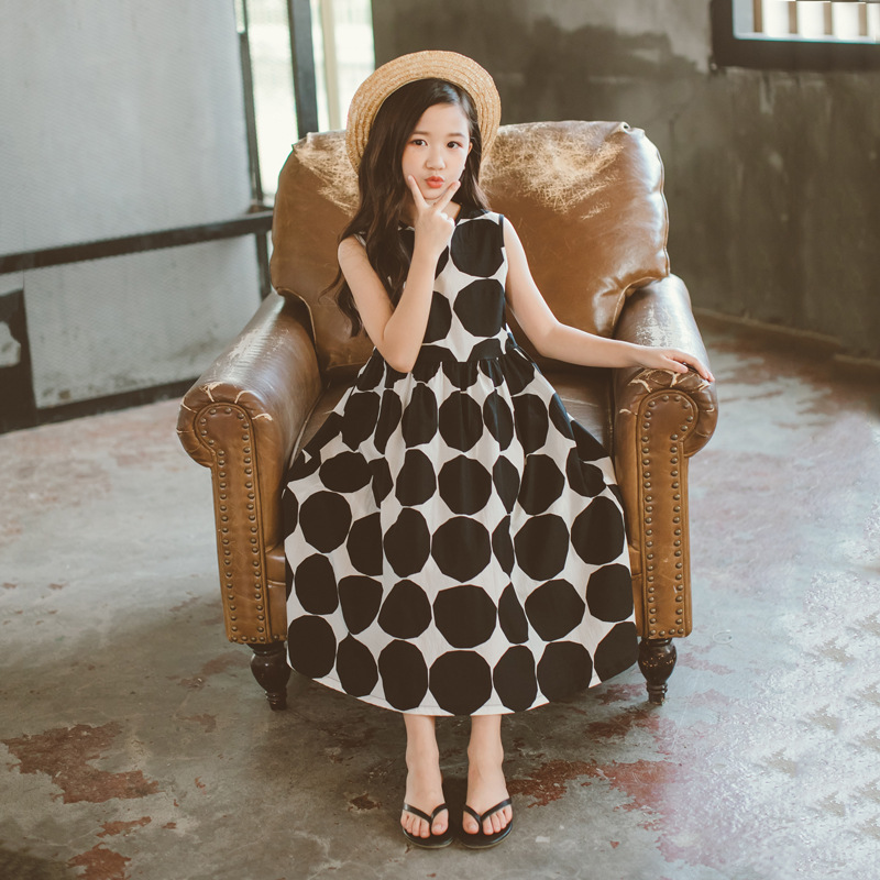 Image 5 - Летнее платье для девочек 2020 г., новое пляжное хлопковое детское длинное платье в горошек платье для мамы и дочки летнее платье для детей ясельного возраста одежда для подростков #5077Платья   -