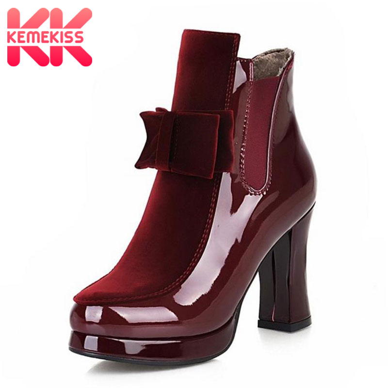 KemeKiss Size 34-43 Women Patent Leather High Heel Mid Calf Boots Platform Sexy Bowtie Warm Winter Boot Footwear Shoes P21332 стоимость