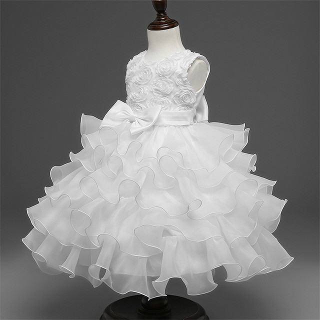 bfcc352e9bf35 High Quality Baby Girls Party Dress Children Princess Flower Ball Gown  Clothes Pleated Dresses with Bowknot Waistband Lace Dress